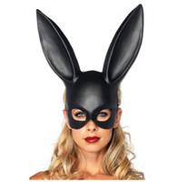weiße partymaske großhandel-Hausgarten Frauen Mädchen Party Kaninchen Ohren Maske Schwarz Weiß Cosplay Kostüm Nette Lustige Halloween Maske