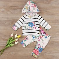 Wholesale Baby Flower Outfit - 2017 Newest Newborn Set Autumn Infant Baby Girls Clothes Set Flower Striped Hoodies+Pants 2PCS Outfits Set Kids Girls Clothes For 0-24M