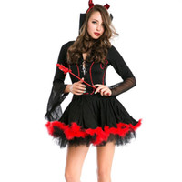 Wholesale free role playing - Halloween Costumes Women Devil Role-Playing Character Costume Lady Hallowmas Cosplay Clothing Make Up Party Bar Black Res Dress