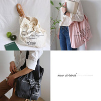 New 36 * 40cm Korea Letters Printed Lacing Bow Art Fresco Causal Totes grandes Moda Mulheres Shopping Shoulder Bags