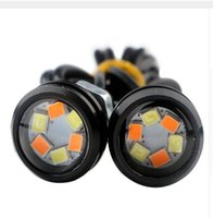 Venta al por mayor Eagle Eye Luces 6SMD coche LED motor DRL Turn Señal Lámparas Faros de luz de reserva coche Auto lámpara de doble color 12v DIY Estilo