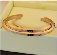Wholesale Box Roses Wedding - 2017(come with original package) new DW Bracelets Cuff Rose Gold Silver Bangle 100% stainless steel Bracelet Women and Men Bracelet pulsera