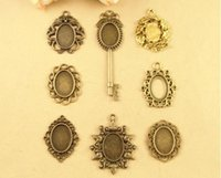 Wholesale Cameos Bulk - Fit 18*13MM DIY accessories wholesale oval metal stamping blank, antique cameo cabochon setting leaf dragon key pendant base bezel tray bulk