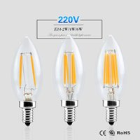 E14 Dimmable Led Light 220V 2W 4W 6W Filament Lamp Candle Bulb lampada led Retro Lustres en cristal Eclairage de Noël