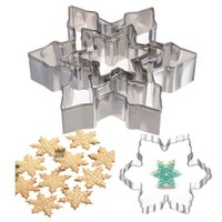 Wholesale Stainless Steel Cookie Pastry Cutters - 3pcs 1set Snowflake Cutter Cookies Stainless Steel Fondant Cake Pastry Mould Biscuit Icing Sugarcraft Mold DIY Baking Tool