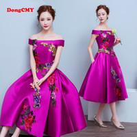 Wholesale Medium Long Dresses - 2017 medium-long evening plus size Lace up Purple color party Flower pattern prom dresses