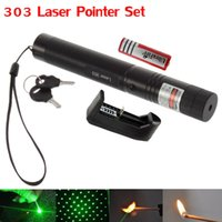 Wholesale Star Battery Charger - High Power 303 Green Laser Pointer Adjustable Focus Burning Match with Star Pattern Filter + 18650 Battery + Charger + Safe Key