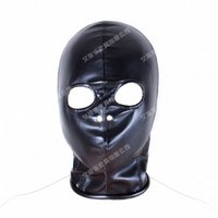 Wholesale Open Leather Gag - Superior PU Leather Bondage Hood Fetish Open Nose Gag Black Mask Sex Slave Bondage Restraints Erotic Games Sex Toys for Couples