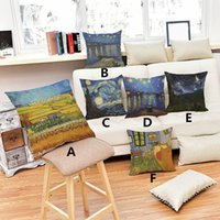 Wholesale Sofa Cover Velvet - 2017 Van Gogh oil printings sunflower starry night pillow cover comfortable Sofa linen cotton velvet cushion cover 45*45cm
