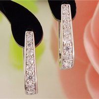 Wholesale U Clear - Wholesale- SHUANGR 1pair Silver U-Shape Hoop Earrings AAA Clear Cubic Zirconia Women Jewelry Elegant Tiny Hoop Earrings TB387