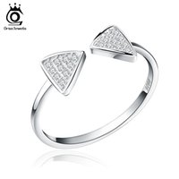 Wholesale Genuine Cz - New Arrived Genuine 925 Silver Rings CZ Paved Bow Open Adjustable Finger Rings For Women SR01