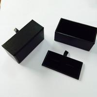 Wholesale Cufflink Earrings - Wholesale 100pcs lot Black Cufflink Box Cufflink Gift Case Holder Jewelry Packaging Boxes Organizer Black DHL Free