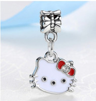 Wholesale Wholesale Chamilia Charms - Fits Pandora Charm Bracelet 20pcs Hello Kitty Enamel Beads Sterling Silver Dangle DIY Handmade Jewelry For Chamilia European Women Charms