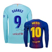 Wholesale 2017 Adults Long Sleeve Futbol Camisa Nermar Messi Suarez INIESTA PIQUE Soccer Jersey Football Camisetas Shirt Kit Maillot La Liga