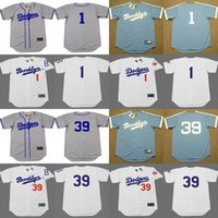 Wholesale Men Weeding - 2017 Men's Brooklyn Dodgers #1 PEE WEE REESE #39 ROY CAMPANELLA Throwback Baseball Home And Away Jersey Stitched