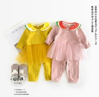 Wholesale Girl Gir - INS new arrivals fall baby kids climbing romper watermelon lemon pet pan collar mesh patchwork romper gir romper kid 100% cotton rompers