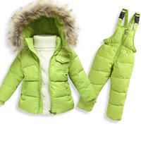 Wholesale Skiing Clothes For Children - Wholesale- Children Winter Clothing set Boys Ski Suit Girl Down Jacket Coat + Jumpsuit Set 1-6 Years Kids Clothes For Baby Boy Baby Girl