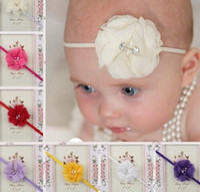 Wholesale Wholesale Skinny Satin Headbands - Hair Accessories Newborn Headband Skinny Soft Nylon Headband Satin Chiffon Flower Baby Girl Headband YH432