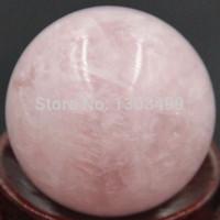 piedra preciosa de cristal rosa al por mayor-Envío Gratis Piedras Preciosas de Piedra Natural 30 MM Rosa Esfera de Cuarzo Bola de Cristal Chakra Curación Reiki Talla de Piedra Artesanía