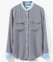 Wholesale Silk Fabric Shirts - garment factory women 100% silk woven blouses shirts long sleeve round neck double pockets fabric sandwash luxury wedding dresses converse