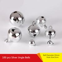 mücevher yılbaşı süsü toptan satış-Gümüş Jingle Bells Kolye Asılı Noel Ağacı Süsleme Noel Dekorasyon DIY Takı Bulguları Craft Aksesuarları Charms Boncuk 10mm
