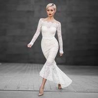 Wholesale White Calf Length Dress - Mermaid Dresses wedding guest dress Slash Long Length Dresses White Lace Elegant Long-Sleeved Fish Tail Slash Neck Dresses Free Shipping