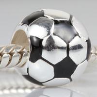 silver soccer bracelets großhandel-Geschenk für Fußballfans 925 Sterling Silber Schmuck Perlen stereoskopischen Fußball europäischen Perlen für Pandora Armbänder Silber Charms Schmuck