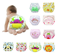 Wholesale Toddler Cloth Nappies - Cute Animal Lion Duck Baby Diapers Washable Nappies Cloth Diaper Reusable Infants Toddler Baby 3 Layers Cotton Diaper Nappy 653