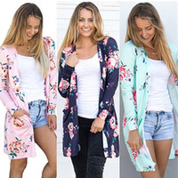 Wholesale Cotton Flower Shirt - Cool Women Cotton Flowers Shirt Dress Long Sleeves Autumn Casual Floral Shawl with Pockets Cardigan Cover Up