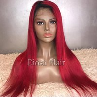 Wholesale Straight Red Lace Front Wigs - Ombre 1BTRed Full Lace Wig Brazilian Virgin Hair Silky Straight Lace Front Human Hair Wig Red With Dark Roots For Women