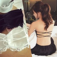 Wholesale tube top padded bra - Wholesale-Lace Strapless Tube Top Cross Sexy Bra Crop Tops Blusa De Renda Padded Tube Bra Black and White Lace Bralette Free shipping