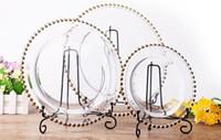 plattenladegeräte großhandel-13 zoll runde billige hochzeit cear silber gold glas perlen ladegerät pates glasplatte für hochzeit tischdekoration LLFA