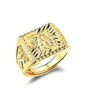 Wholesale Chinese Luck - Wholsale Price Mens 18k Gold Plated Rectangle Ring Blessing in Chinese Character Good Luck Gold Jewelry for Men