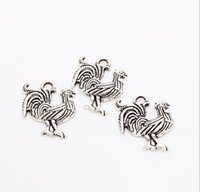 Wholesale jewelry for cock - MIC 200pcs lot Vintage Small Cock Charms Antique Silver Trendy Zinc Alloy Fine Animal Cock Charms pendants DIY for Jewelry Making 18*21mm