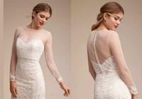 gelin kıyafeti sırf bolero toptan satış-Sırf Düğün Burunları Sevgiliye Gelinlik Için Basit Şal Zarif Uzun Kollu Gelin Dantel Ceketler Beyaz Düğün Aksesuarları Aplike
