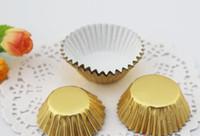 kekler için pişirme kağıdı toptan satış-Pişirme Altın / Gümüş folyo kağıt tutucu orta yağ kek Orta Cupcake astar Muffin Gömlekleri Kağıtları Pişirme Bardaklar cakecup 3.5 cm