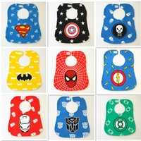 Grossiste- Superhero Cartoon Baby Bibs Newborn Kid Saliva Bavettes Babadores Waterproof Bibs Burp Vêtements Infants bandanas écharpe cravat pinafore