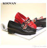 Wholesale Leather Pumps Kids - Free Shipping Koovan Kids Shoes High Quality Hot Sale Genuine Leather Princess Shoes Autumn Tassel Black Pumps Big Brand Shoes K002.