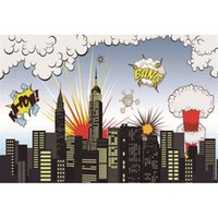 Cartoon Superhero Backdrops Fotografia Edifícios da Cidade Big Bang Crianças impressas Kids Photo Studio Background Boy Backdrop