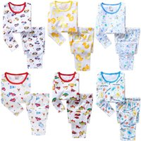 Wholesale baby boys christmas sets - 2018 Baby Boys Clothes Suits Cotton Children Sleepwear Sets Kids T-Shirts Pants 2-Pieces Sets Pyjamas 2 3 4 5 6 7 Year PJ'S Soft Nightgown