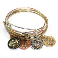 Wholesale Vintage Rose Gold Bangle Bracelet - Heart vintage anchor viking cable bracelet for women silver rose gold vintage gold color usa expandable bangle wholesale free shipping DIY
