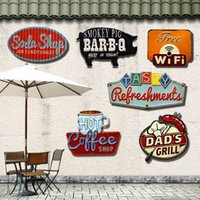 Atacado- Sinais Irregular Retro Metal Tin Signs para Bar Pub Cafe Garagem do Hotel Metal Art Wall Decor Sticker Poster Vintage Painting Plaque