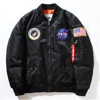 Wholesale V Neck Windbreaker - NASA Mens MA1 Bomber Jacket Insignia USAF Kanye West Hip Hop Sport Male Windbreaker Jacket Flag Mens Spring Thin Thick Section Jacket