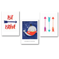 Bambini Poster Arrow Whale Tela artistica Minimalismo Pittura Motivational Cartoon Nursery Wall Immagine Stampa Decorazione Baby Room