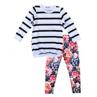 Wholesale leopard outfits for babies - Baby Girls Clothes Sets Autumn Floral Clothing Long Sleeve Stripe T-shirt+Flower Pants 2 PCS Baby Girl Clothes Outfits For 1~5 Y