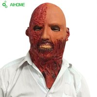 Wholesale Mummy Cosplay - Wholesale-Horror Party Masks Latex Mummy Mask Adult Full Head Face Breathable Halloween Mask Fancy Dress Party Cosplay Costume Theater Toy