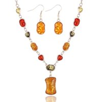 Wholesale Spiked Earrings - Vintage Jewelry Set 2017 New Sterling Silver Amber Stone Necklace Earring Set Statement Necklace Spike Resin Earrings Yellow Stone