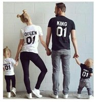 Wholesale Mother Son Fashion Clothes - 2017 New Family King Queen Letter Print tshirt Mother and Daughter father Son Clothes Matching Princess Prince