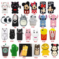 Wholesale Monkey Cute Case - 3D Cute Cartoon Soft Silicone Rubber Phone Case Cover Back for IPhone 6 6s 7 Plus Case Dots Cat Bear Monkey Pig Fruit Food Girls
