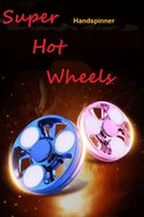 Wholesale Skateboard Double - Newest Fingertips spinner LED Double-deck super hot wheels Hand Spinner round wheels EDC Fidget Spinner spot Decompression toy